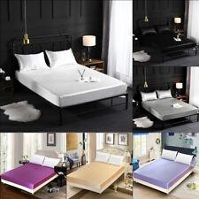 Luxury Comfortable Satin Silk Fitted Sheet Bed Flat Sheet Set Bedding Set