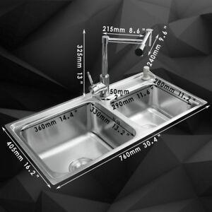 Chrome Kitchen Stainless Steel Nickel Sinks Swivel Mixer Faucet Soap Dispenser