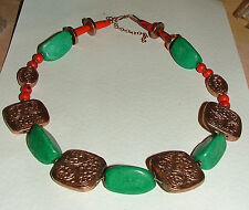 "22"" TURQUOISE STONE & COPPER PLATED DECORATED SQUARES FAUX CORAL NECKLACE BD"