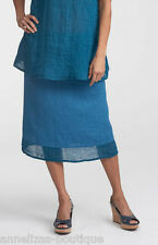 "NWT Flax Bold Linear Skirt ""Peacock"" Blue Linen Below Knee-Length Size 3G (3X)"