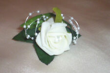 WEDDING FLOWERS  IVORY FOAM ROSE BUTTONHOLE PACKAGE x 5  + PEARLS AND  DIAMANTE
