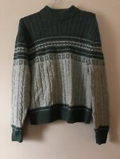 VTG Jantzen Men's XL Green Ugly Tacky Christmas Crewneck Cable Knit Sweater