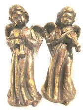 2 Gold Angel Figurines Candle Holders Antique Looking H. 7 inches Violin Horn