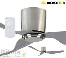 "NEW MERCATOR CITY 35w DC CEILING FAN WITH REMOTE 3 BLADE 52"" BRUSHED CHROME"