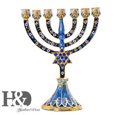 Golden Menorah Candelabra 7 Branch Star of David With Crystal Hanukkah Candle