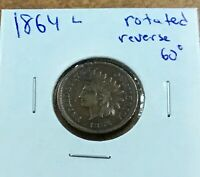 """1864L INDIAN HEAD CENT - With LIBERTY & CLEAR """"L""""  Rotated reverse"""