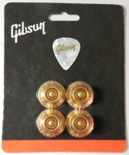 GIBSON Gold Bell White Letters Top Hat Knobs Set Genuine Les Paul USA Free Pick
