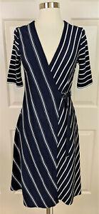 NWT Ann Taylor Mixed Stripe Navy Wrap Dress ponte knit Size XS