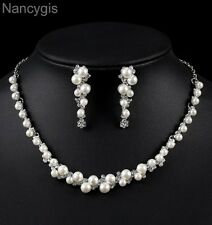 Silver Crystal Simulated Pearl Necklace & Earrings Bridal Wedding Jewellery Set