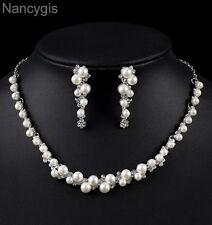 Silver Crystal Simulated Pearl Choker and Earrings Bridal Wedding Jewellery Set