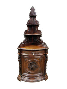 Outstanding French Hunt Corner Cabinet, Oak, Dragons, 19th Century #11395