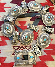New ListingWow! Big Navajo Old Pawn Sterling Silver & Turquoise Native American Concho Belt