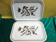 Lot of 2 Vintage Metal Serving TV Lap Trays ~ Birds ~ By Maxey