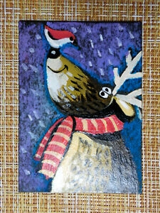 ACEO original pastel painting outsider folk art brut #010527 surreal elk