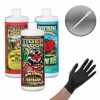 FoxFarm Hydro Trio -Big Bloom,Grow Big Hydro,Tiger Bloom Pint + Gloves & Pipette