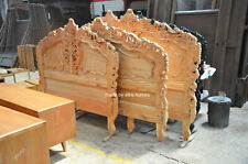 First time in UK 100% OAK Wood french style Rococo bed ...... UK Super King Size