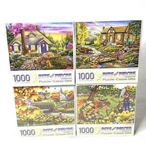 4 Bits & Pieces Puzzles 1000 Pieces New Sealed Lot Of 4 Carlson Fall Scenery