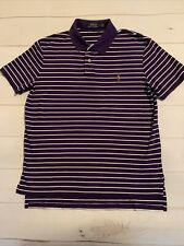 Polo Ralph Lauren, Mens Purple & White Stripe Cotton Polo, Very Nice! MEDIUM