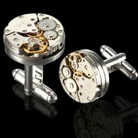 WATCH MOVEMENT MEN'S STEAMPUNK VINTAGE SILVER CUFFLINKS CUFF LINKS GIFT WEDDING
