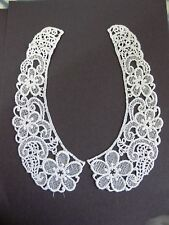 """2pc Magnificent Venise Lace Applique 9""""  Floral Collar Bridal 1735w"""
