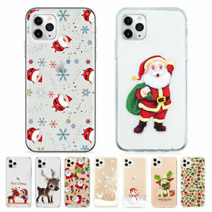 Christmas Silicone Phone Case iPhone 11 Pro Max 7 8 SE XR X XS Max Clear - UK