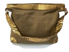 The Sak Handbag Crochet Shoulderbag Satchel Large Tote Antique Gold