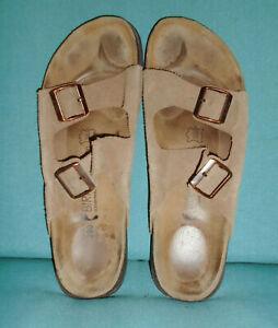 BIRKENSTOCK Sandals ARIZONA Brown Leather BIRKO Premium Mens 12 (45) Narrow