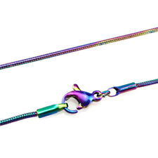 "5pcs/lot Rainbow Stainless Steel Snake Chain Necklace 55cm 22"" 22inch 22180"