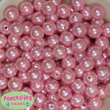 14mm Pink Acrylic Faux Pearl Bubblegum Beads Lot 20 pc.chunky gumball
