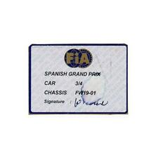 Original FIA 1997 Williams FW19 Scrutineering Passes - Spain