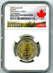 2020 $2 CANADA NGC BRILLIANT UNC TOONIE BILL REID BEAR TWO DOLLAR FIRST RELEASES