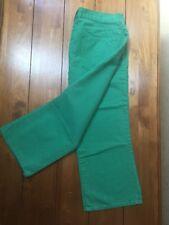 Women's J Crew Hipslung Capris Jeans Pants Size 32 Bright Green Cotton