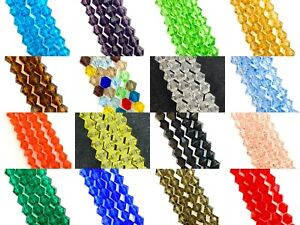 4mm glass crystal faceted bicone beads - choose colour, strand length 12 / 16 in