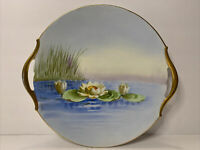 T&V Limoges France, Hand Painted Dish with Handles, Gold Gilded