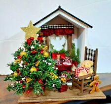 CHRISTMAS HOUSE - with tree-- angel in window, rocking chair---- lights