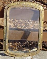 Salvaged Brass Porthole Window 20 x 28 Inch