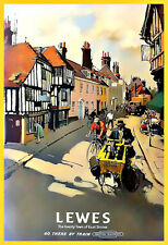 Travel Lewes Sussex British Railways  Train Rail  Holiday  Vacation Poster Print