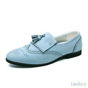 Men Round Toe Party Oxfords Slip On Tasseled Dress Formal Casual Loafer Shoes Sz