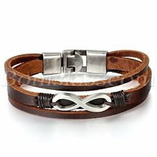 Men's Womens Love Infinity Symbol Multilayer Leather Strap Bracelet Bangle Cuff