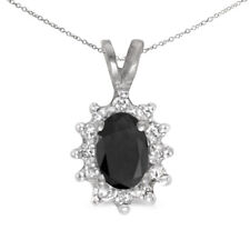 """10k White Gold Oval Onyx And Diamond Pendant with 18"""" Chain"""