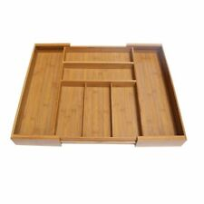 Kitchen Storage Box Bamboo Multiple Compartments Tray Cosmetics Holder Organizer