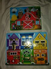 Melissa and Doug latches board and magnetic hide and seek farm.