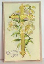 PostCard Easter Joys Cross Floral Antique Stamp Posted 3-31-1911 Vintage