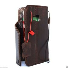 genuine leather Case for Htc One m9 book wallet cover magnet brown vintage