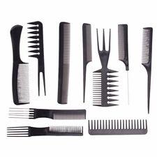 Pro Salon Hair Styling Hairdresser Hairdressing Barbers Brush Combs Black 10Pcs