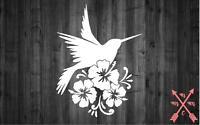 "5"" HUMMING BIRD FLOWERS VINYL DECAL STICKER LAPTOP YETI TUMBLER CAR CUP TRUCK"