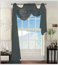 "Sheer Voile Window Curtain Scarf: 55""W x 216""L, Fully Hemmed"