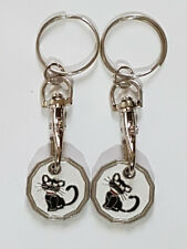 2 X CAT Design New Shape One Pound £1 Coin Token Keyring Shopping Trolley Gift