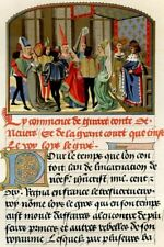 Feast at the court, medieval illumination 15th C..Antique chromolithograph .1858