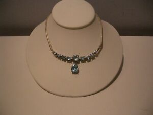 VINTAGE STERLING SILVER 925 ITALY BLUE TOPAZ DANGLE NECKLACE A MUST!!!